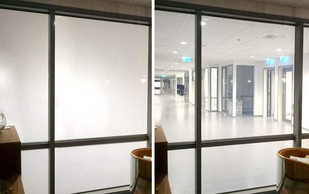 Switchable glass for privacy